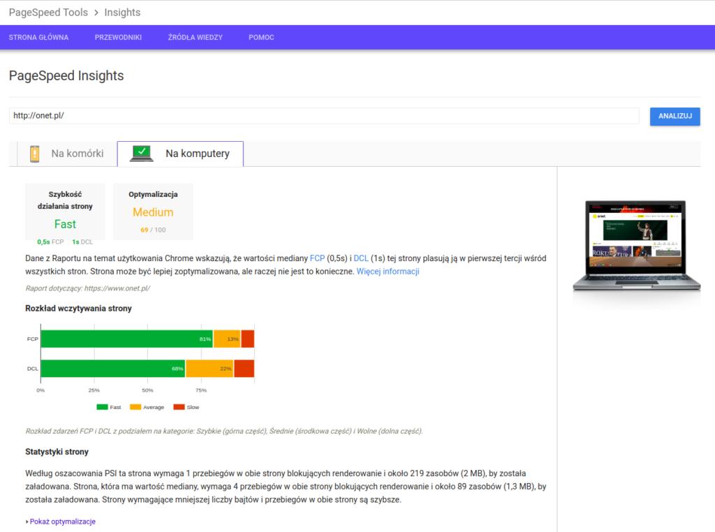 PageSpeed Insights - projektowanie stron internetowych
